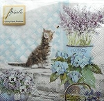 Cat Beverage Napkins, Kitten And Flowers