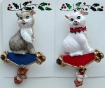Cat Christmas Pins, White Or Grey