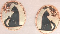 Cat Earrings, Regal Black Cat Sitting