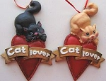 Cat Ornament, Cat Lover Heart, Black Or Orange