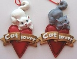 Cat Ornament, Cat Lover Heart, White Or Grey