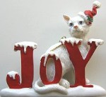 Cat Ornament, Joy, White