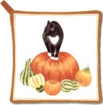 Cat Potholder, Cat And Pumpkin