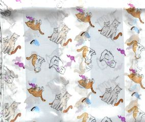 Cat Scarf, Cats And Kittens, White, Oblong