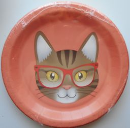 Cats Meow Cat Paper Plate, Cat With Glasses, Dessert