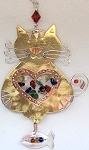 Cat With Heart Ornament, Tri Color