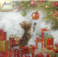 Christmas Cat Paper Napkins, Kitten And Bauble
