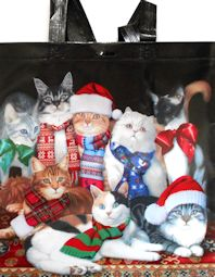 Christmas Cat Grocery Tote, Winter Cats