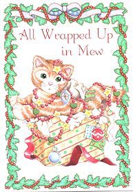 Collectible Calico Kitten Christmas Cards, All Wrapped Up