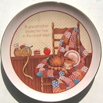 Collectible Mini Cat Plate, Grandmother