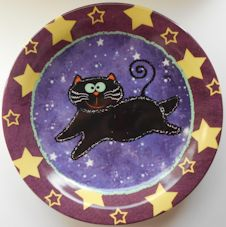 Collectible Halloween Cat Plate, Cat And Stars