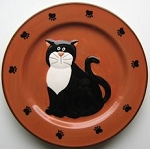 Collectible Cat Plate, Seated Tuxedo Cat