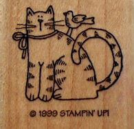 Collectible Cat Rubber Stamp, Cat And Bird