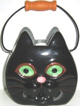 Collectible Ceramic Black Cat Basket