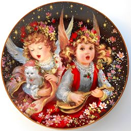 Collectible Cat Plate, Hark The Herald Angels