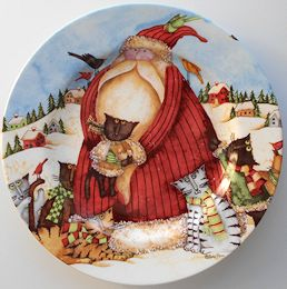 Collectible Christmas Cat Plate, Santa And Six Cats