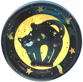 Collectible Halloween Cat Plate, Smiling Cat