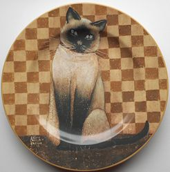 Collectible Cat Plate, Country Kitties, Siamese Cat