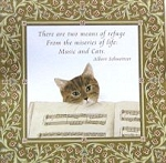 Gift Enclosure Card, Music And Cats (Pkg of 6)