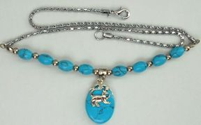 Sample, Cat Necklace, Turquoise Walking Cat