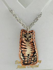 Sample, Cat Pendant, Seated Striped Cat