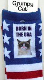Sample, Grumpy Cat Socks, Women's, Born In The USA