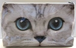 Sample, Large Cosmetic Travel Bag, Silver Kitty Face