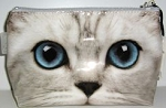 Sample,  Medium Cosmetic Bag, Silver Kitty Face