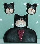 Cat Pin And Cat Earrings, Tuxedo, Heart