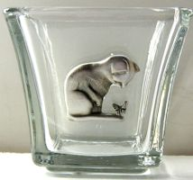 Votive Candle Holder, Cat And Butterfly