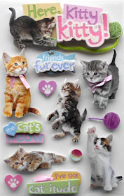 Cat Stickers, 3D Here Kitty Kitty