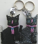 Beaded Cat Key Ring, Black Cats