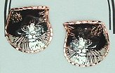 Black & White Cat Earrings, CatFace