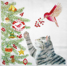 Cat Flour Sack Towel, Cat At Christmas Tree