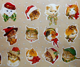 Cat Gift Wrap, Christmas Cat Faces