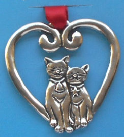 Cat Heart Ornament, Pewter