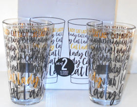 Collectible Cat Lady Beverage Glasses, Set