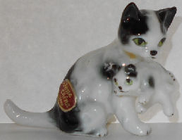 Collectible Cat Miniature, Mother Carrying Kitten