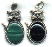 Cat Pendant With Black (Onyx) Or Green (Malachite) Stone