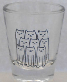 Sample, Cat Shot Glass Or Pill Cup, Nine Cats