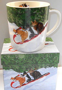 Holiday Cat Mug And Gift Box, Toboggan Cats