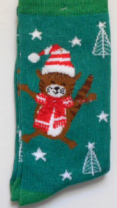 Christmas Cat Socks, Cat With Hat And Scarf