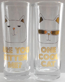 Collectible Cat Beverage Glass, Kitten Me, Cool Cat