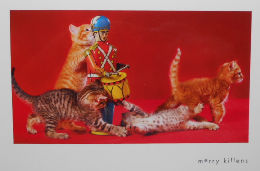 Collectible Cat Christmas Card, Merry Kittens