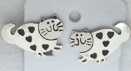Collectible Cat Earrings, Hearts, Clip