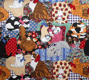 Collectible Cat Fabric, Cats With Bows