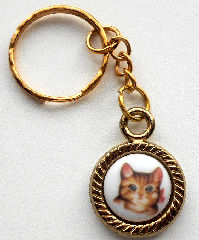 Collectible Mini Key Chain, Kitten With Bow