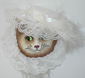 Collectible Cat Mask, Lace & Feathers