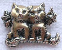 Collectible Cat Pin, Two Small Cats