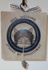 Collectible Cat Sign, Mice Welcome